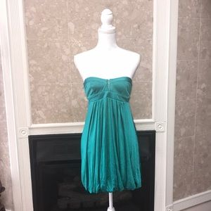 💎 Bebe corset top dress in teal with bubble hem